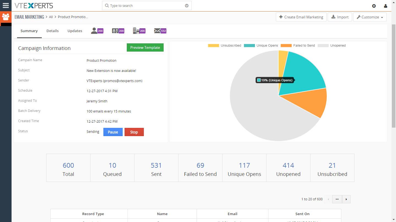 vTigerSpain - extensión para el envío de campañas de emailing por vTiger CRM